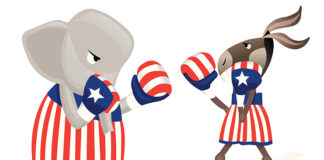 Cartoon of elephant and donkey boxing in patriotic apparel