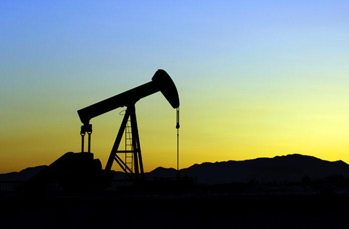 Fracking oil in sunset