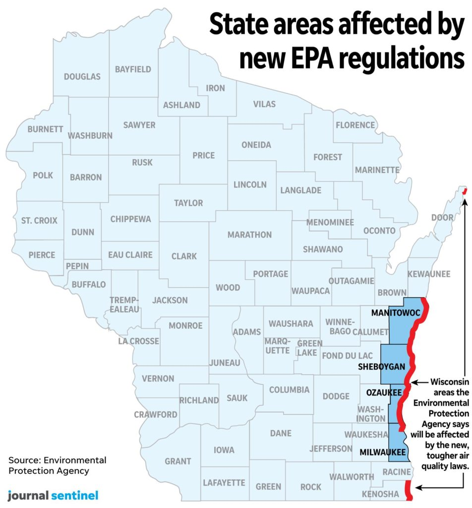 Wisconsin state areas affected by new EPA regulations