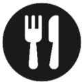 fork and knife in circle