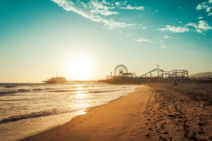 Sunset in Santa Monica, view on the amusement park